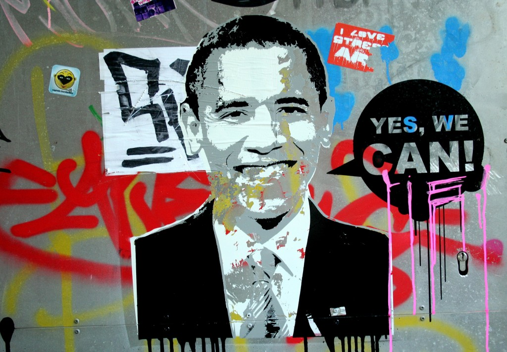 Obama Stencil Yes We Can Lie!!!!