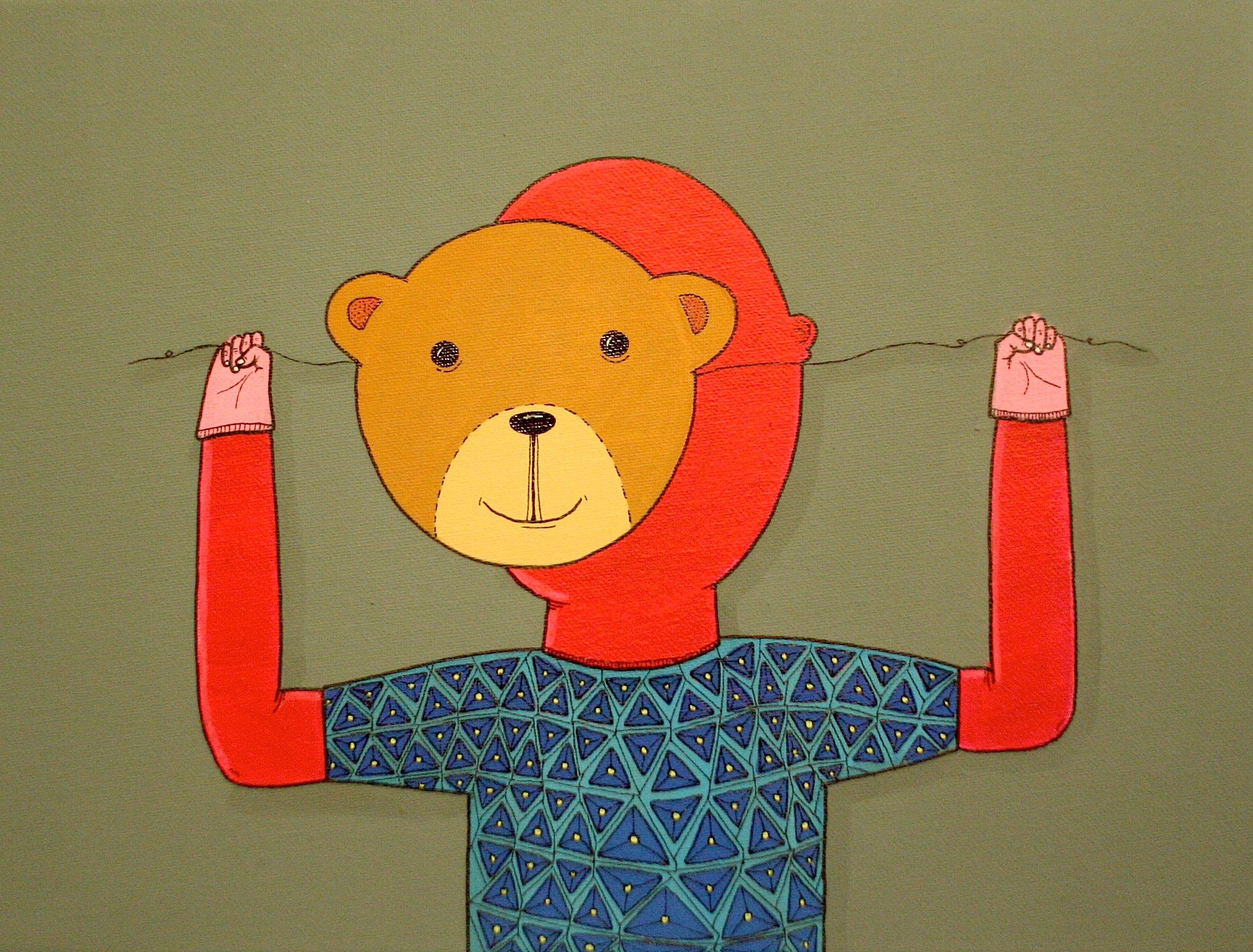 teddy bear mask canvas painting